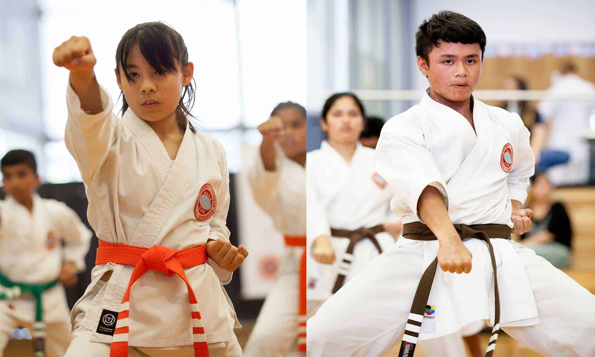 two karate students punching
