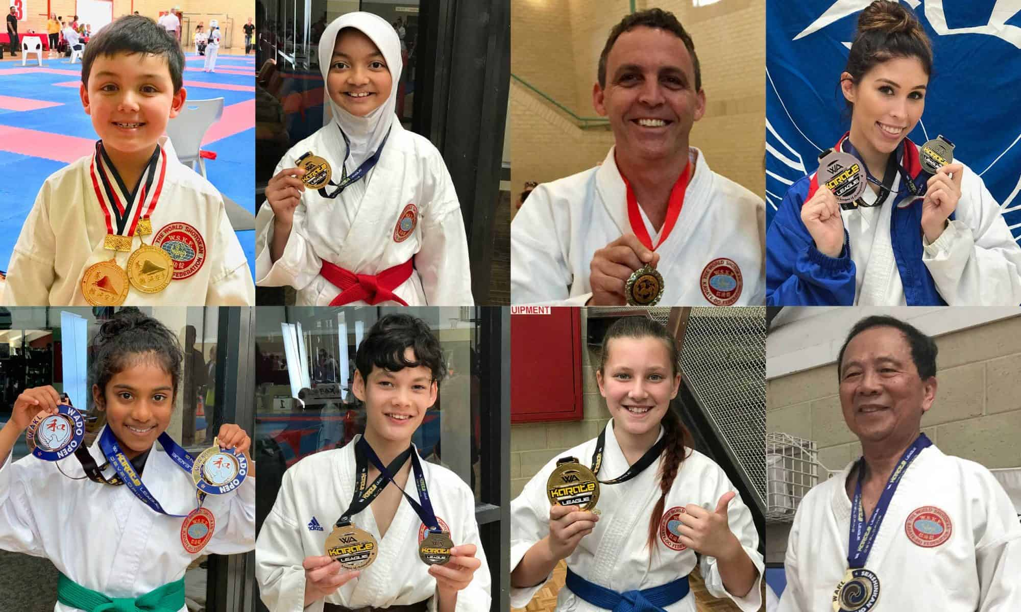eight karate students holding their medals and smiling